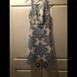 Anthropologie blue white floral dress